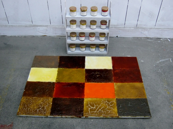 'The Spice Rack.' Comprised of paint made from 16 spices, applied to a surface and stored in bottles.